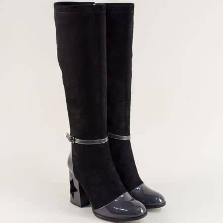 Дамски ботуши в сиво и черно на авангарден висок ток 12552350vch