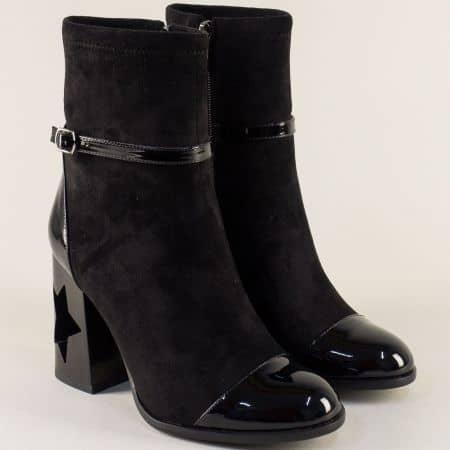 Дамски боти на оригинален висок ток в черен цвят 12552514nch