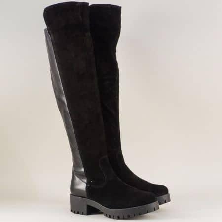 Черни дамски ботуши от естествен велур на нисък ток 125527vch