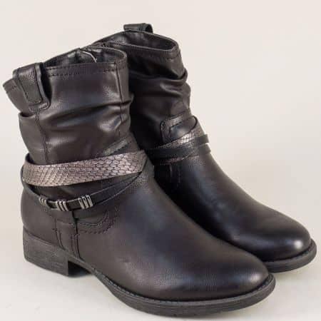 Дамски боти с цип на нисък ток в черен цвят-  Jana 825461ch