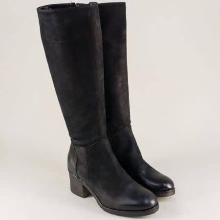 Дамски ботуши от естествена кожа в черен цвят- Tamaris 12554029ch