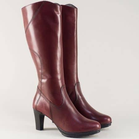 Дамски ботуши от естествена кожа в цвят бордо- Tamaris  125567bd