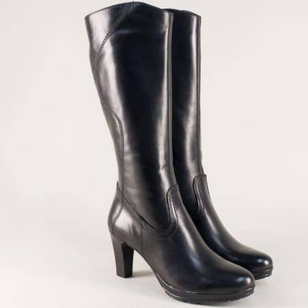 Черни дамски ботуши- Tamaris от естествена кожа на висок ток 125567ch