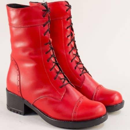 Дамски боти на нисък ток от естествена кожа в червено 1256658chv