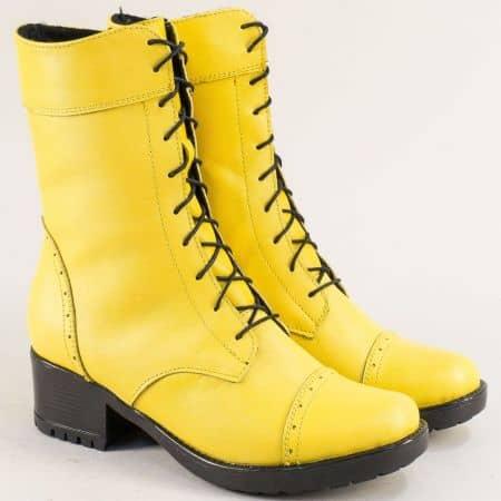 Жълти дамски боти на нисък ток от естествена кожа 1256658j