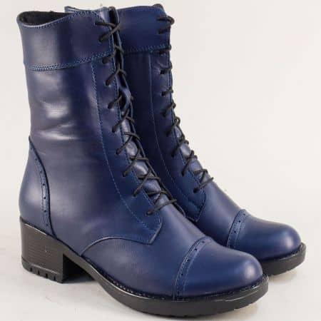 Сини дамски боти с връзки и цип от естествена кожа 1256658s