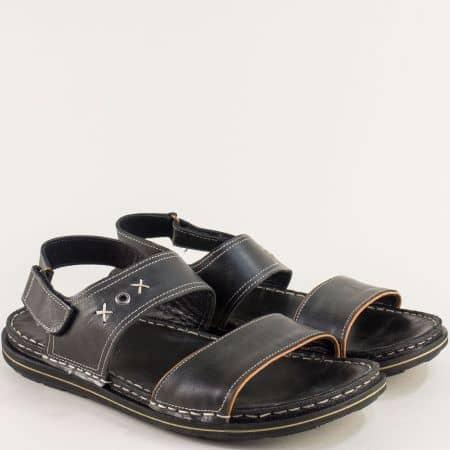 Кожени мъжки сандали в черен цвят на равно ходило 12618501ch