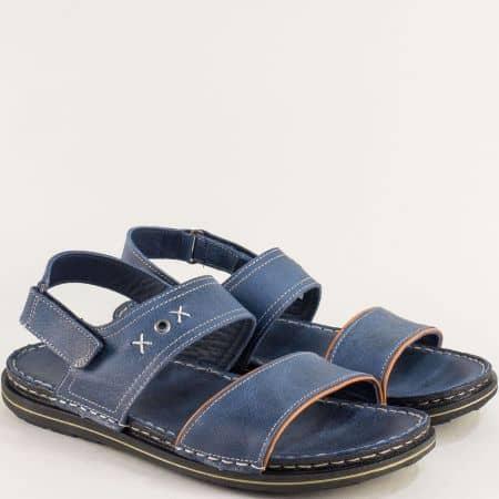 Равни мъжки сандали от естествена кожа в син цвят 12618501s