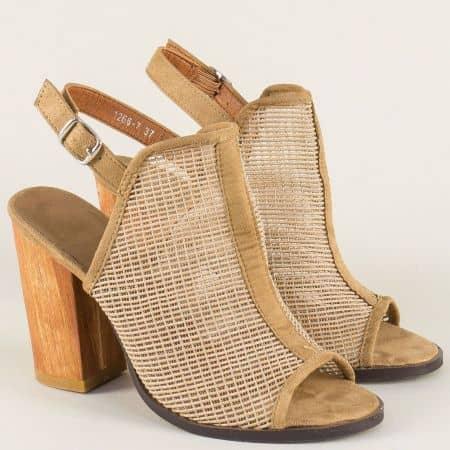 Бежови дамски сандали на висок стабилен ток 12667bj