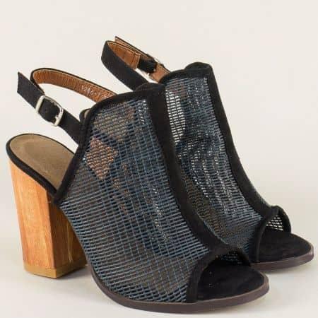 Дамски сандали на висок ток в черен цвят 12667ch