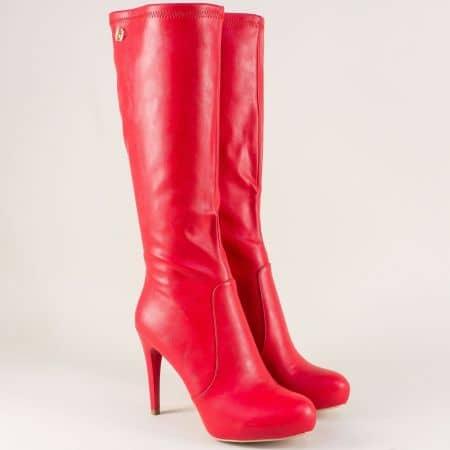 Червени дамски ботуши на елегантен висок ток 126750chv