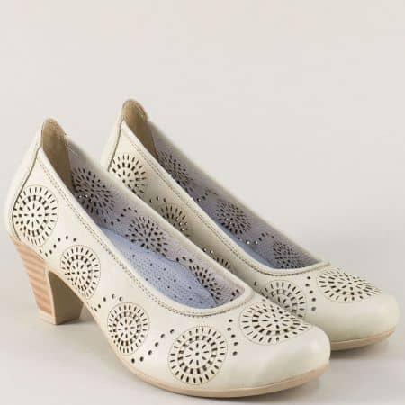 Ортопедични дамски обувки на среден ток в бежов цвят 12723868mb