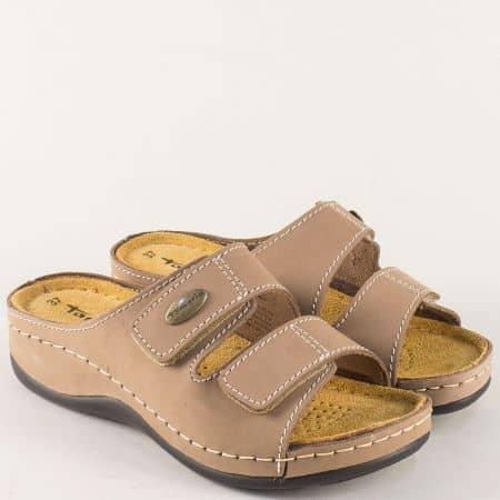 Шити дамски чехли от кафява естествена кожа- Tamaris  127510k