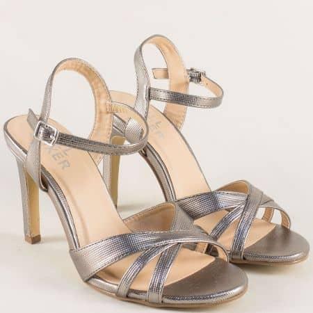 Бронзови дамски сандали на елегантен ток- Bullboxer 128020brz