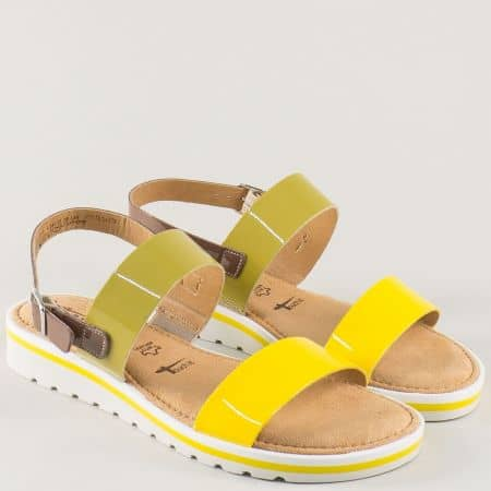 Дамски сандали от естествен лак в жълт цвят- Tamaris  128122j