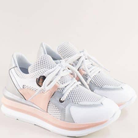 Дамски маратонки на платформа в бяло, розово и сиво 1281brz