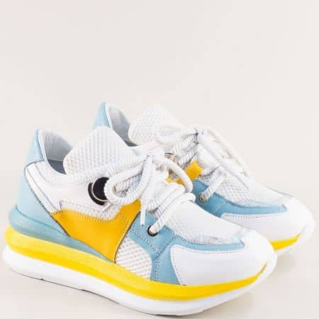 Дамски маратонки в бяло, жълто и светло синьо 1281bs