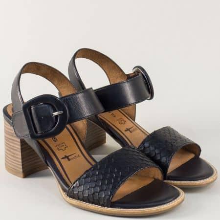Дамски сандали на висок ток от черна естествена кожа 128314ch