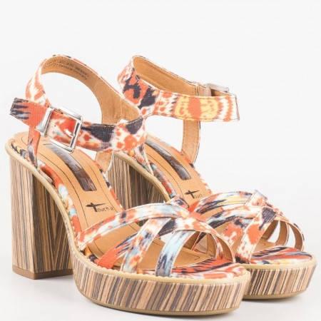 Атрактивни пъстри дамски сандали Tamaris на висок ток и платформа 128333ps