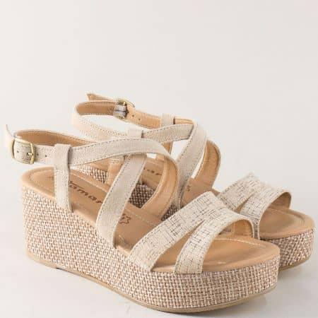 Дамски сандали на платформа от бежов естествен велур 128341bj