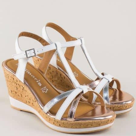 Дамски сандали Tamaris от естествена кожа и лак на висока платформа в бяло, злато и сребро 128347b