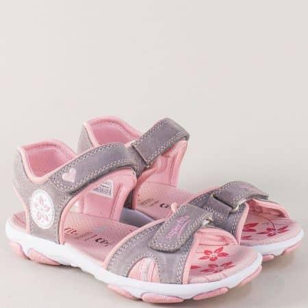 Детски сандали в сиво и розово с две лепки- Super Fit  12844svrz