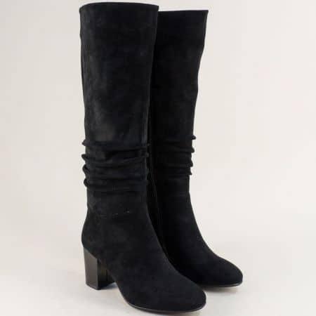 Дамски ботуши в черен цвят на стабилен висок ток- ELIZA 1284524vch