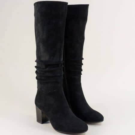 Черни дамски ботуши Eliza на висок ток 1284524vch