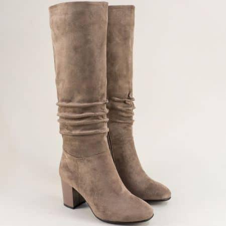 Дамски ботуши на висок токв бежов цвят- ELIZA 1284524vk