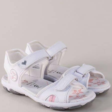 Бели детски сандали с две лепки от естествена кожа 12851-35b