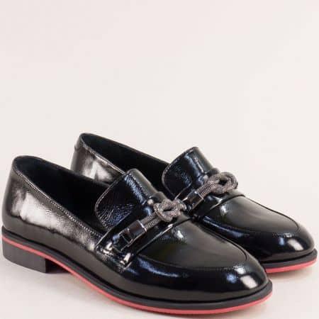 Черен лак дамски обувки на нисък ток 1291078lch