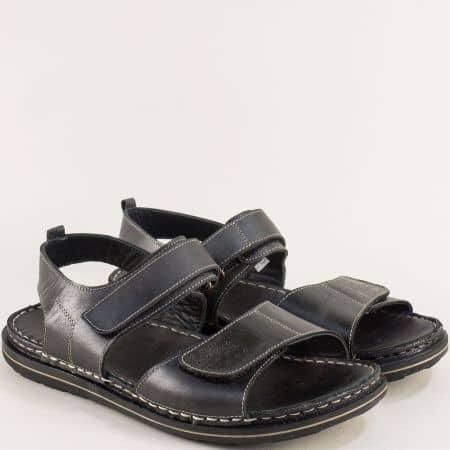 Равни дамски сандали от естествена кожа в черен цвят 12918501ch