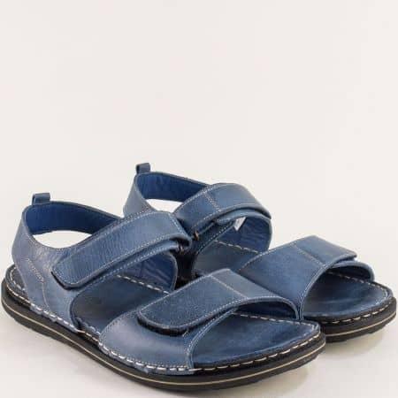 Сини мъжки сандали от естествена кожа с две лепки 12918501s