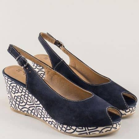 Дамски сандали в синьо и бяло на клин ходило с принт 129303psvs