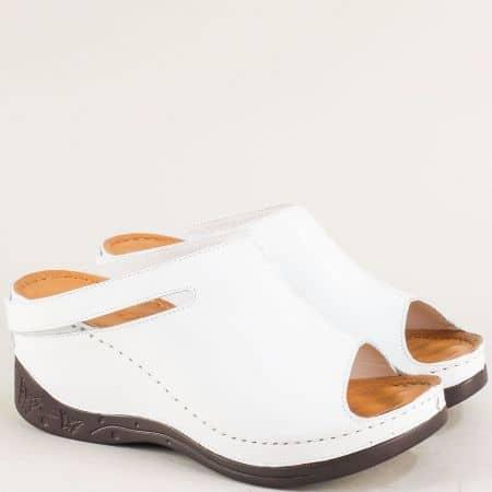 Анатомични дамски чехли от бяла естествена кожа 129322b
