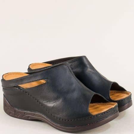 Черни дамски чехли на платформа с анатомична стелка от естествена кожа 129322ch