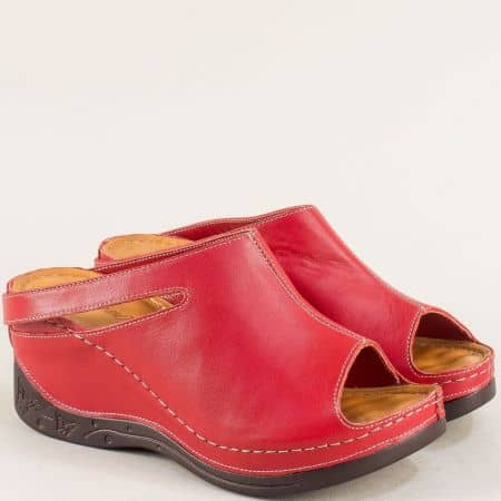 Червени дамски чехли на платформа от естествена кожа 129322chv