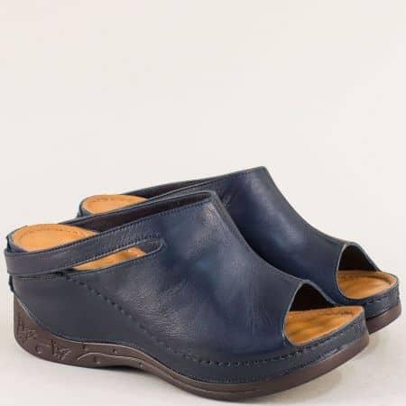 Дамски чехли в син цвят с кожена масажираща стелка 129322s
