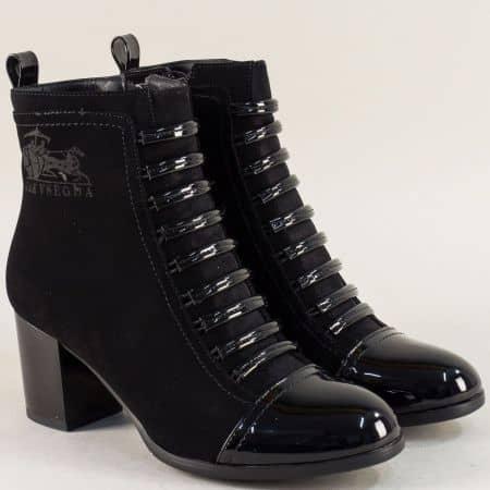 Дамски боти с цип в черен цвят на висок ток 1298752nch