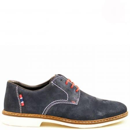 Ежедневни мъжки обувки от Rieker, изпълнени от син естествен велур 13012vs
