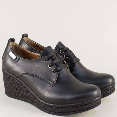 Дамски обувки в черен цвят с връзки и кожена стелка 130143ch