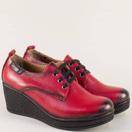 Червени дамски обувки н аклин ходило с кожена стелка 130143chv