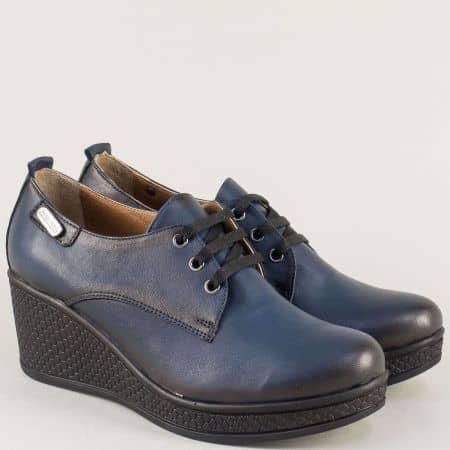 Сини дамски обувки с връзки от естествена кожа 130143s