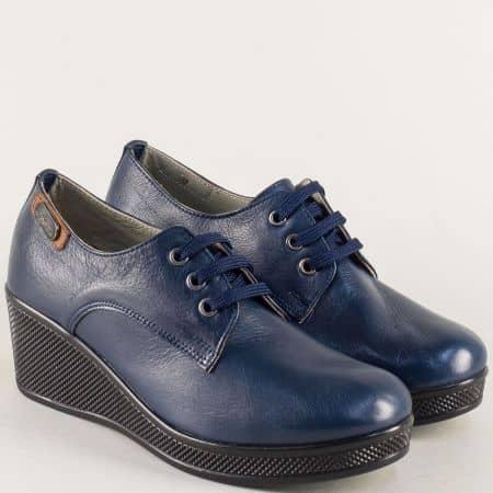 Анатомични дамски обувки на клин ходило в син цвят 130143ss