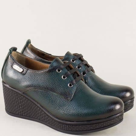 Зелени дамски обувки от естествена кожа с връзки на клин ходило 130143z
