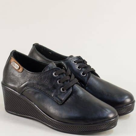 Черни дамски обувки от естествена кожа на клин ходило  13014810ch