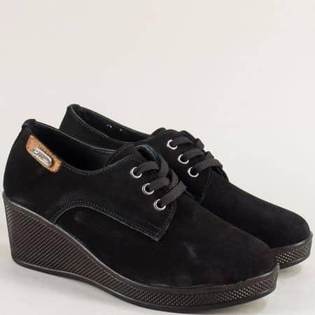 Черни дамски обувки от естествен набук на клин ходило 13014810nch