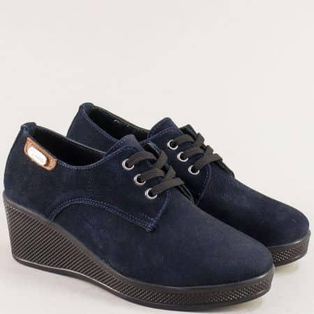 Сини дамски обувки с кожена стелка на клин ходило 13014810s