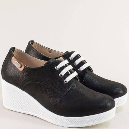 Ежедневни дамски обувки от естествена кожа отвън и отвътре в черен цвят на клин ходило 13014810sch
