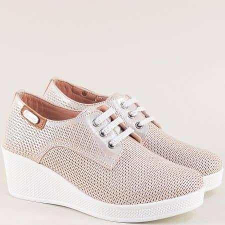 Розови дамски обувки от сатен и естествена кожа 13014810srz